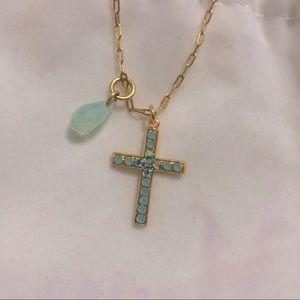Mariana Blue Cross Pendant Yellow Gold Necklace